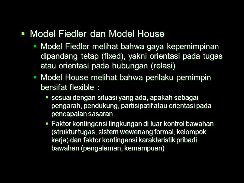 Model Fiedler dan Model House