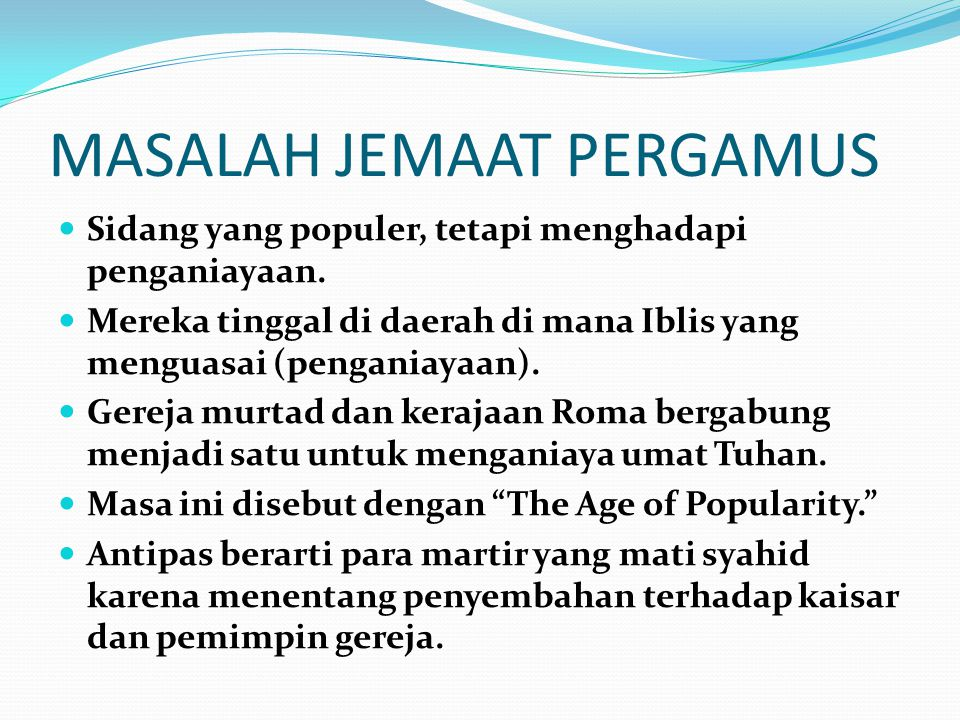 MASALAH JEMAAT PERGAMUS