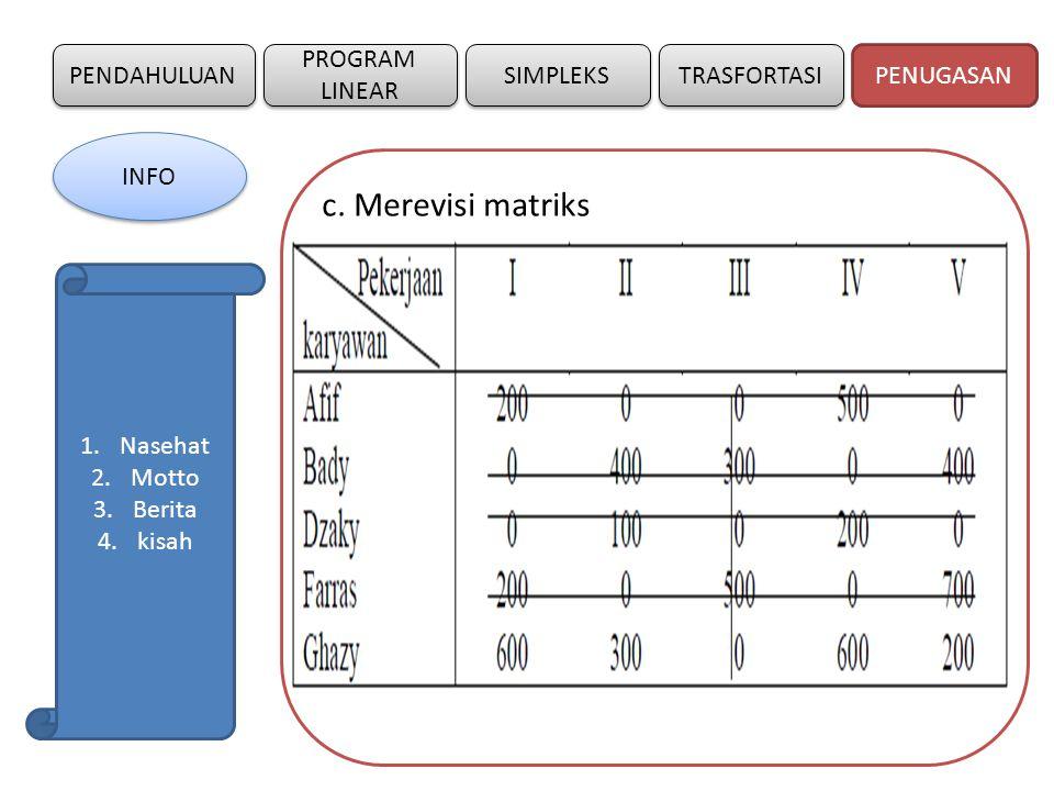 c. Merevisi matriks PENDAHULUAN PROGRAM LINEAR SIMPLEKS TRASFORTASI