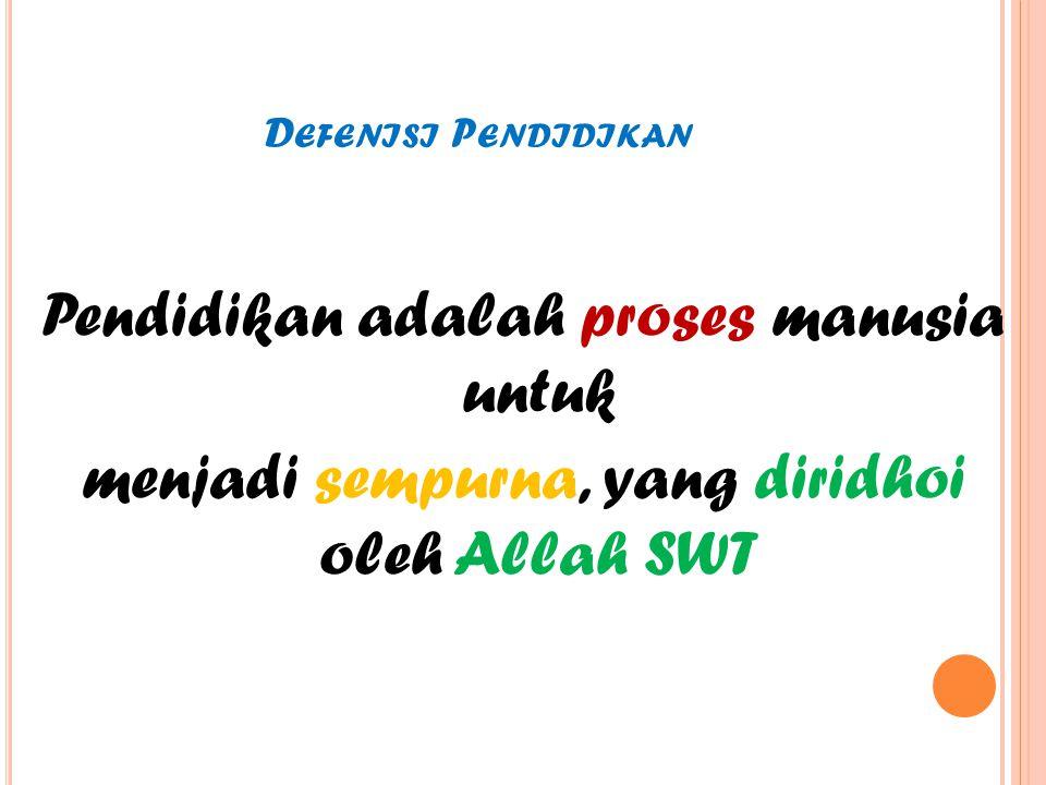 Defenisi Pendidikan Pendidikan adalah proses manusia untuk menjadi sempurna, yang diridhoi oleh Allah SWT