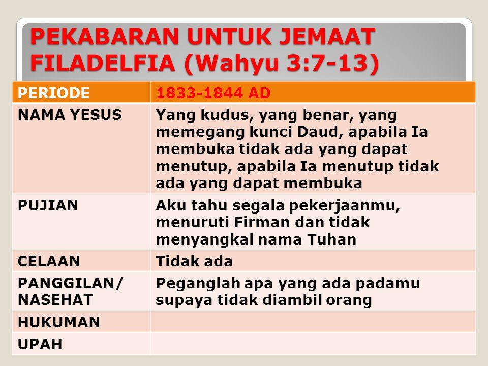 PEKABARAN UNTUK JEMAAT FILADELFIA (Wahyu 3:7-13)