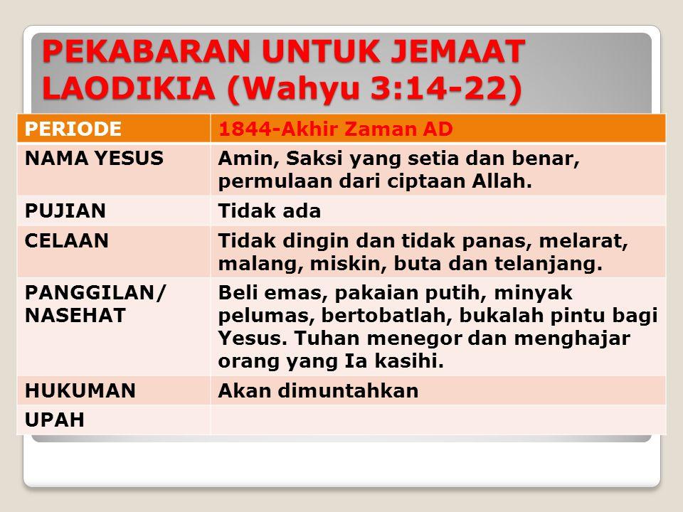 PEKABARAN UNTUK JEMAAT LAODIKIA (Wahyu 3:14-22)