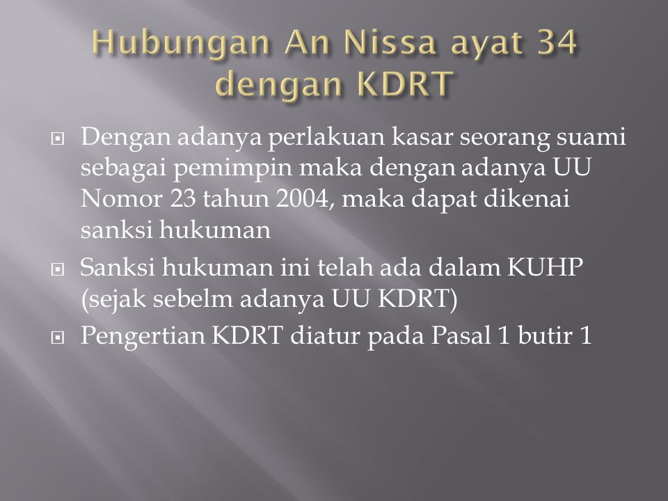 Hubungan An Nissa ayat 34 dengan KDRT