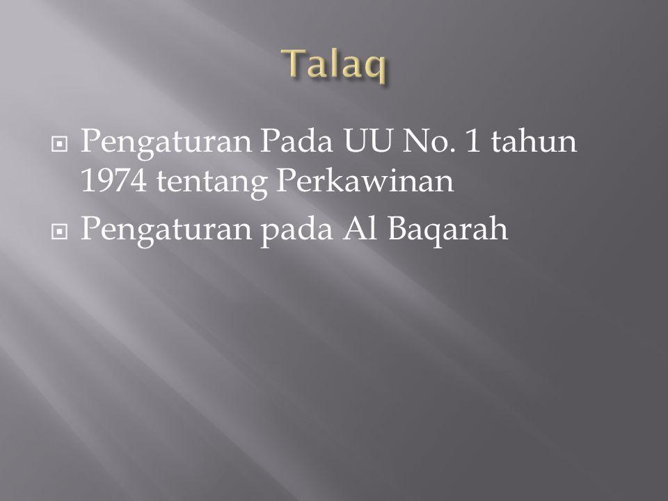 Talaq Pengaturan Pada UU No. 1 tahun 1974 tentang Perkawinan