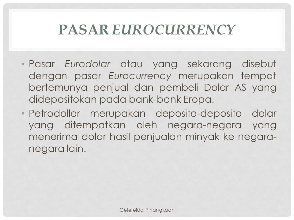 Pasar Eurocurrency
