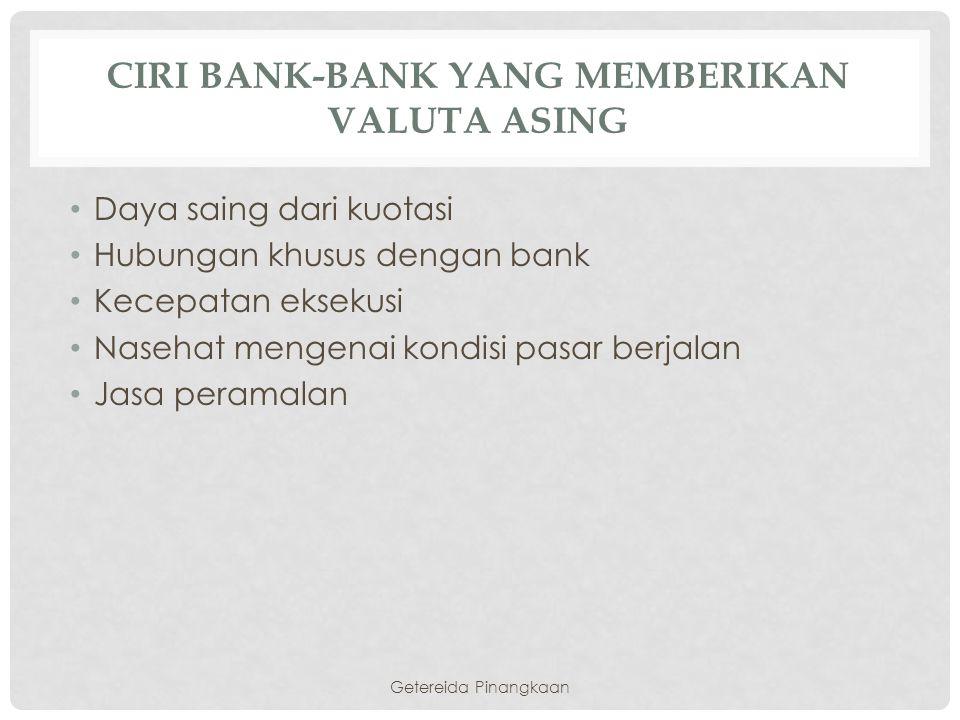 Ciri Bank-Bank yang memberikan Valuta asing