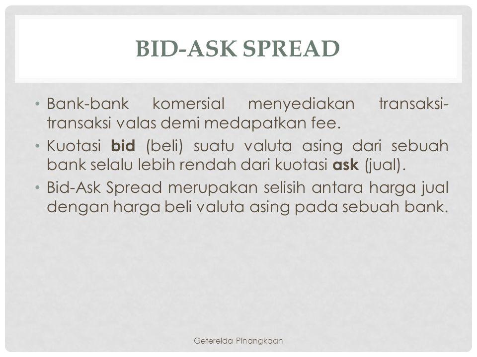 bId-Ask Spread Bank-bank komersial menyediakan transaksi-transaksi valas demi medapatkan fee.