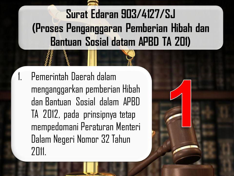 Surat Edaran 903/4127/SJ (Proses Penganggaran Pemberian Hibah dan Bantuan Sosial datam APBD TA 201)