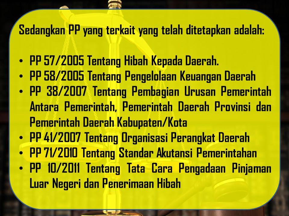 Sedangkan PP yang terkait yang telah ditetapkan adalah: