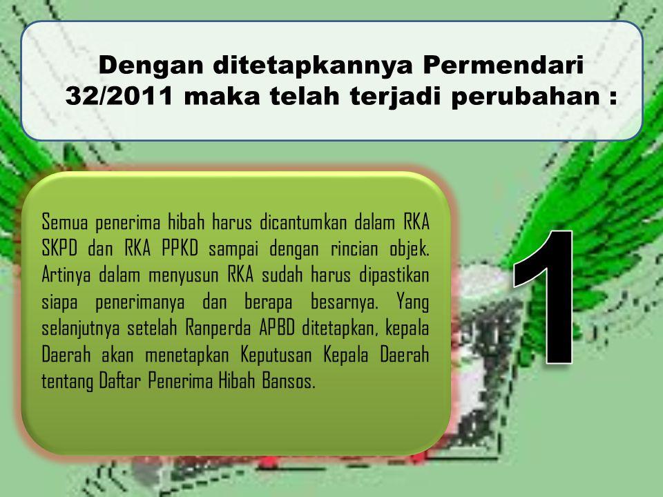 Dengan ditetapkannya Permendari 32/2011 maka telah terjadi perubahan :