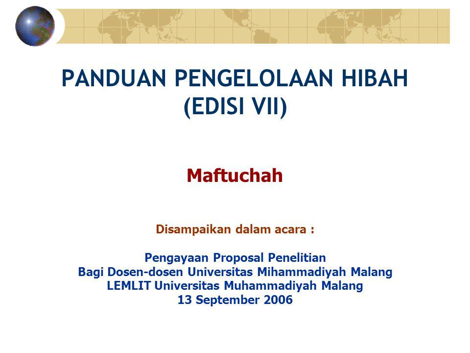 PANDUAN PENGELOLAAN HIBAH (EDISI VII)