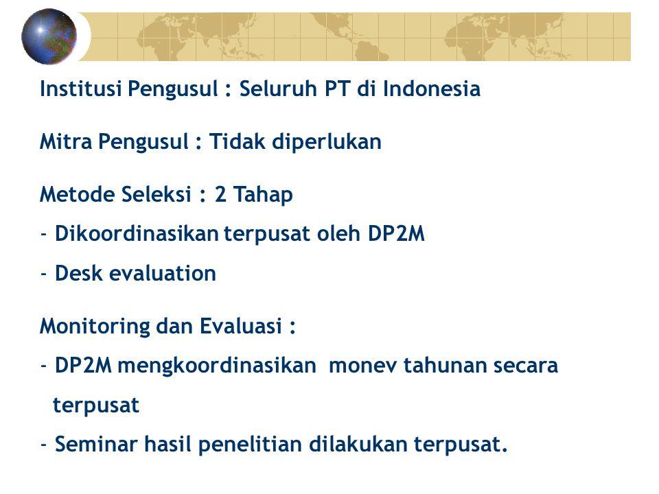 Institusi Pengusul : Seluruh PT di Indonesia Mitra Pengusul : Tidak diperlukan Metode Seleksi : 2 Tahap
