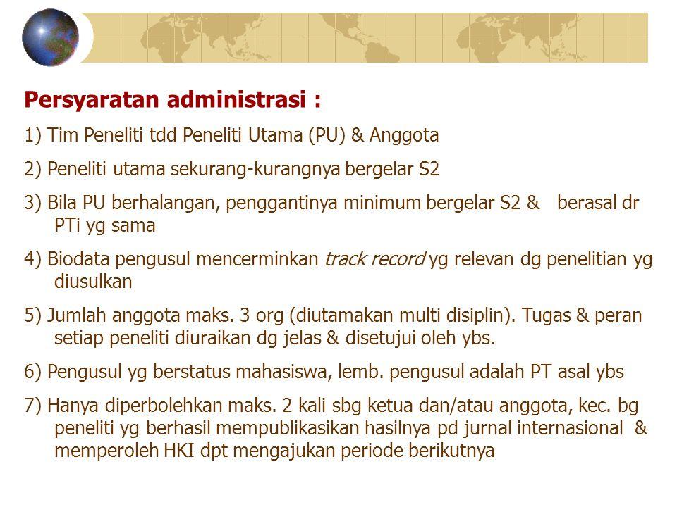 Persyaratan administrasi :
