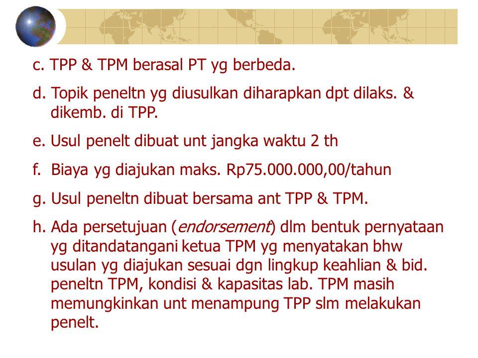 c. TPP & TPM berasal PT yg berbeda.