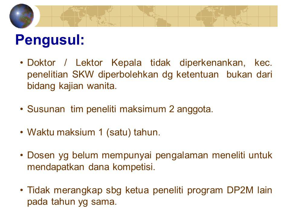 Pengusul: Doktor / Lektor Kepala tidak diperkenankan, kec. penelitian SKW diperbolehkan dg ketentuan bukan dari bidang kajian wanita.