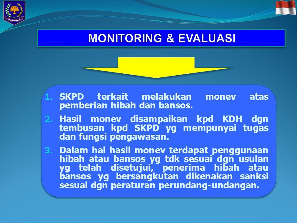 MONITORING & EVALUASI SKPD terkait melakukan monev atas pemberian hibah dan bansos.