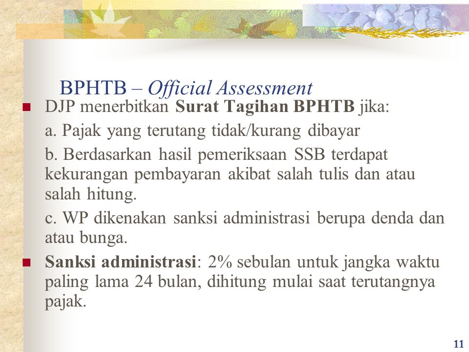 BPHTB – Official Assessment