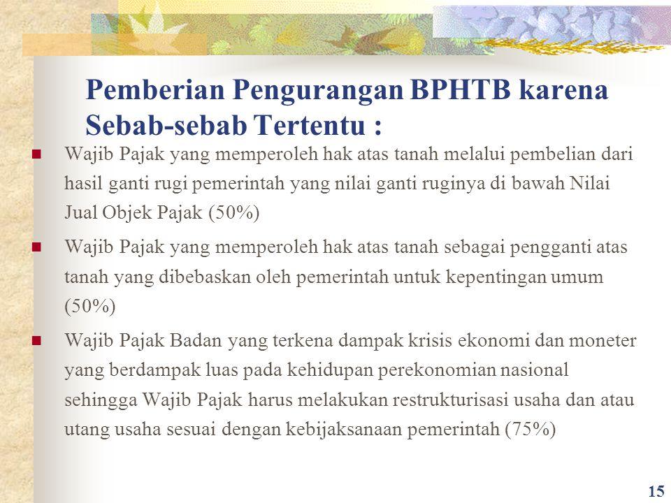 Pemberian Pengurangan BPHTB karena Sebab-sebab Tertentu :