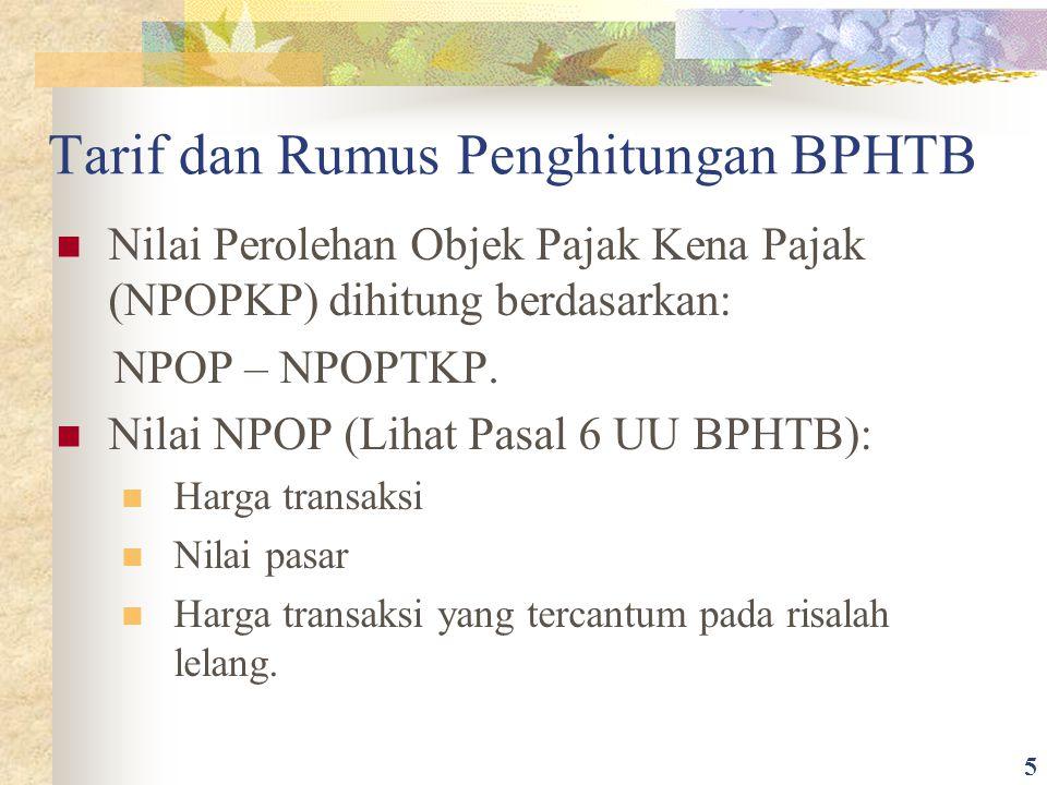 Tarif dan Rumus Penghitungan BPHTB