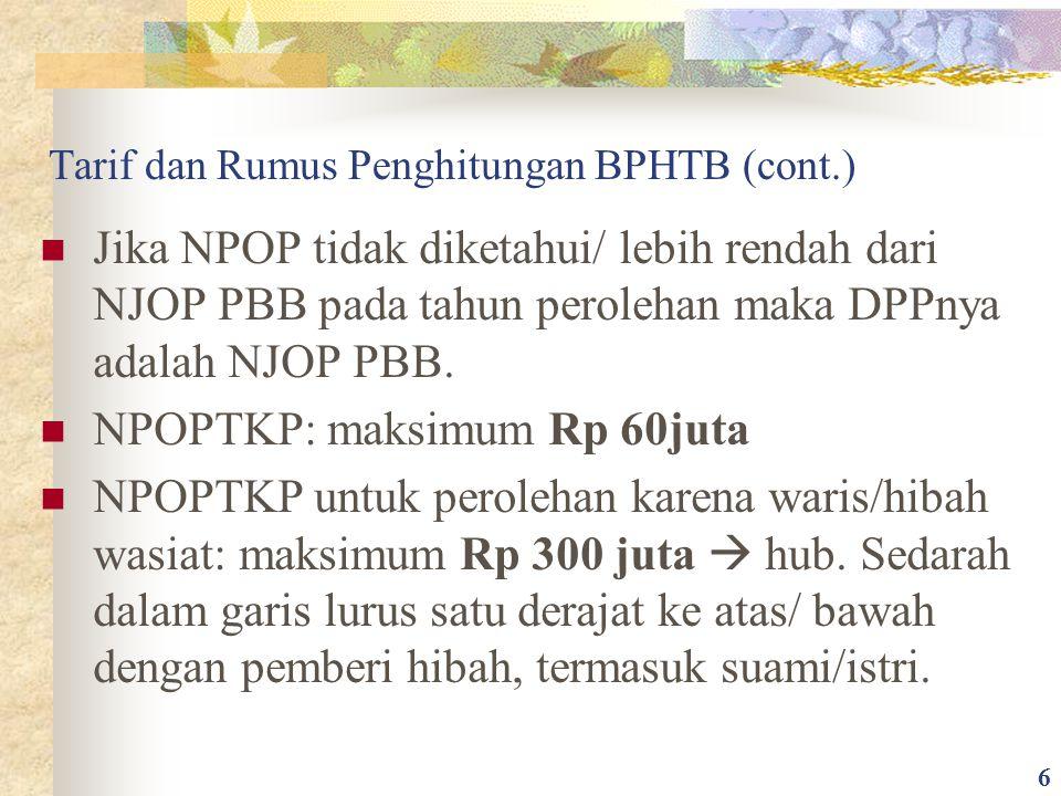 Tarif dan Rumus Penghitungan BPHTB (cont.)