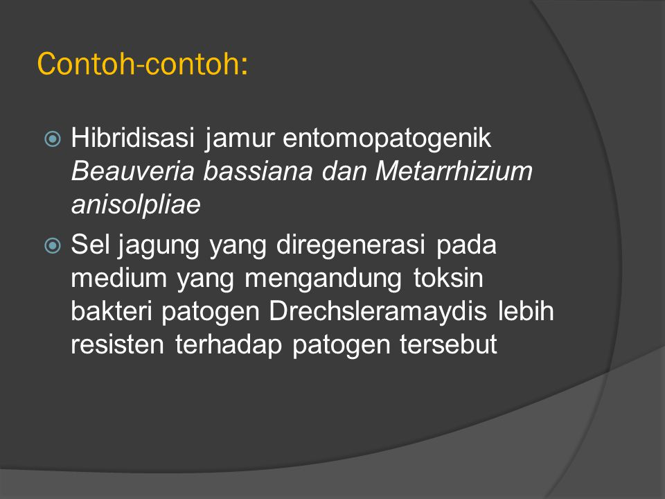 Contoh-contoh: Hibridisasi jamur entomopatogenik Beauveria bassiana dan Metarrhizium anisolpliae.