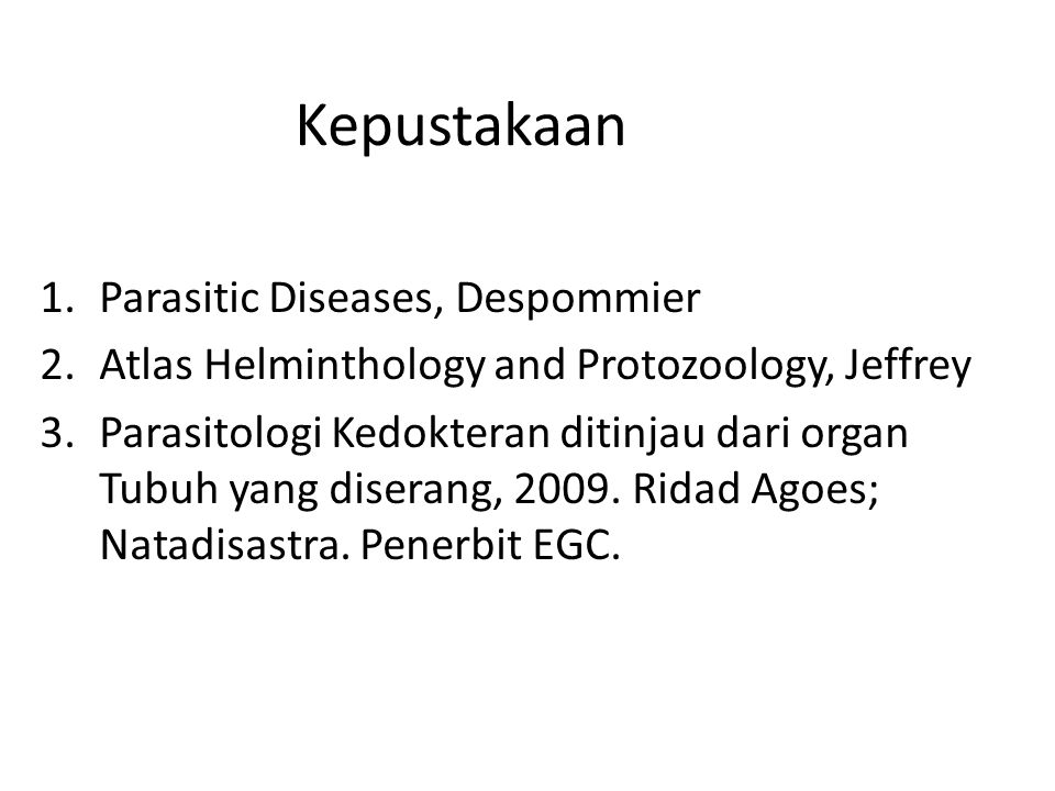 Kepustakaan Parasitic Diseases, Despommier