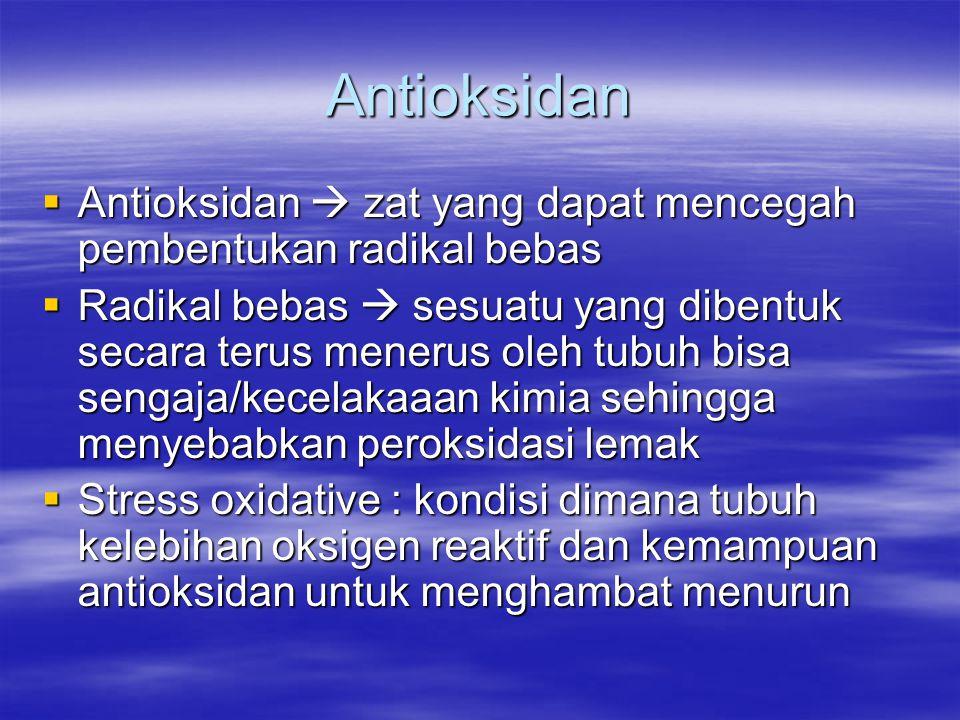 Antioksidan Antioksidan  zat yang dapat mencegah pembentukan radikal bebas.