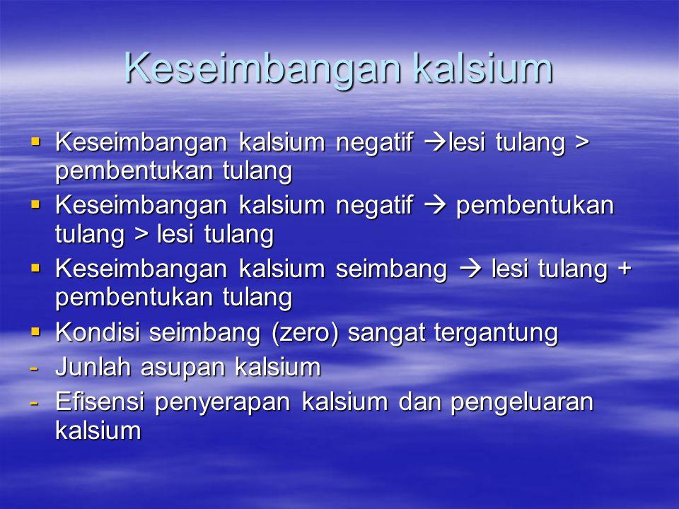 Keseimbangan kalsium Keseimbangan kalsium negatif lesi tulang > pembentukan tulang. Keseimbangan kalsium negatif  pembentukan tulang > lesi tulang.