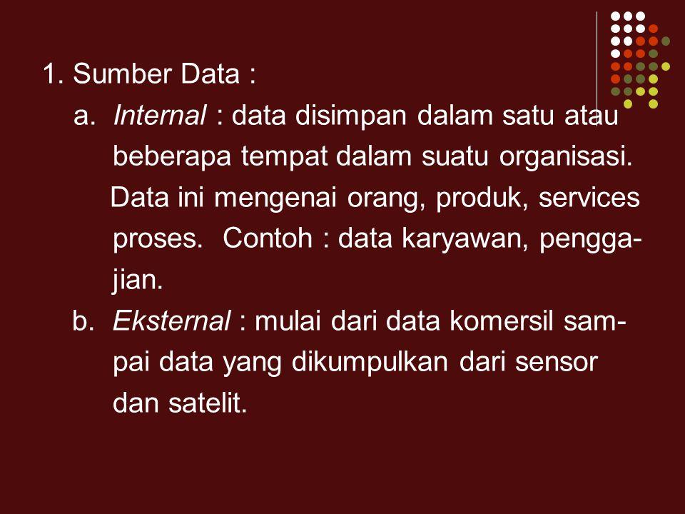 1. Sumber Data : a. Internal : data disimpan dalam satu atau. beberapa tempat dalam suatu organisasi.