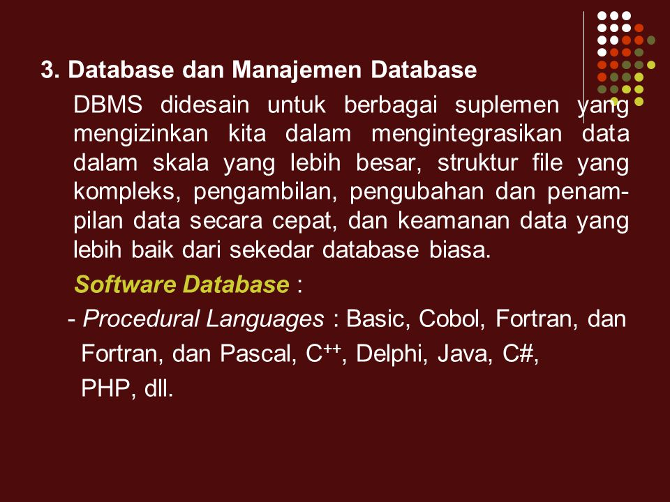 3. Database dan Manajemen Database