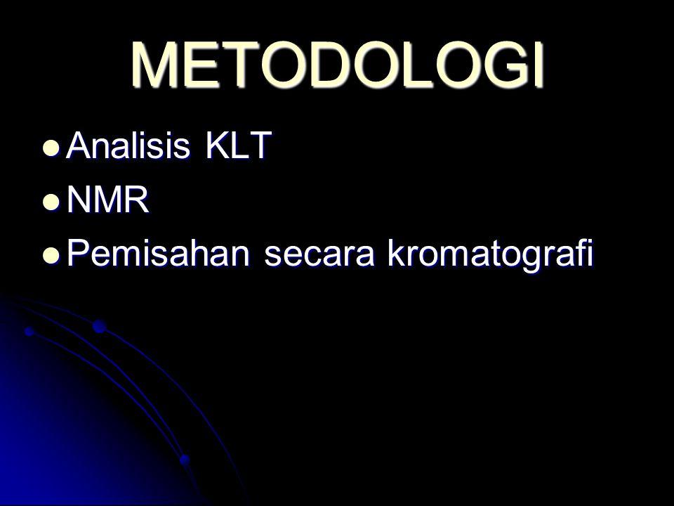 METODOLOGI Analisis KLT NMR Pemisahan secara kromatografi