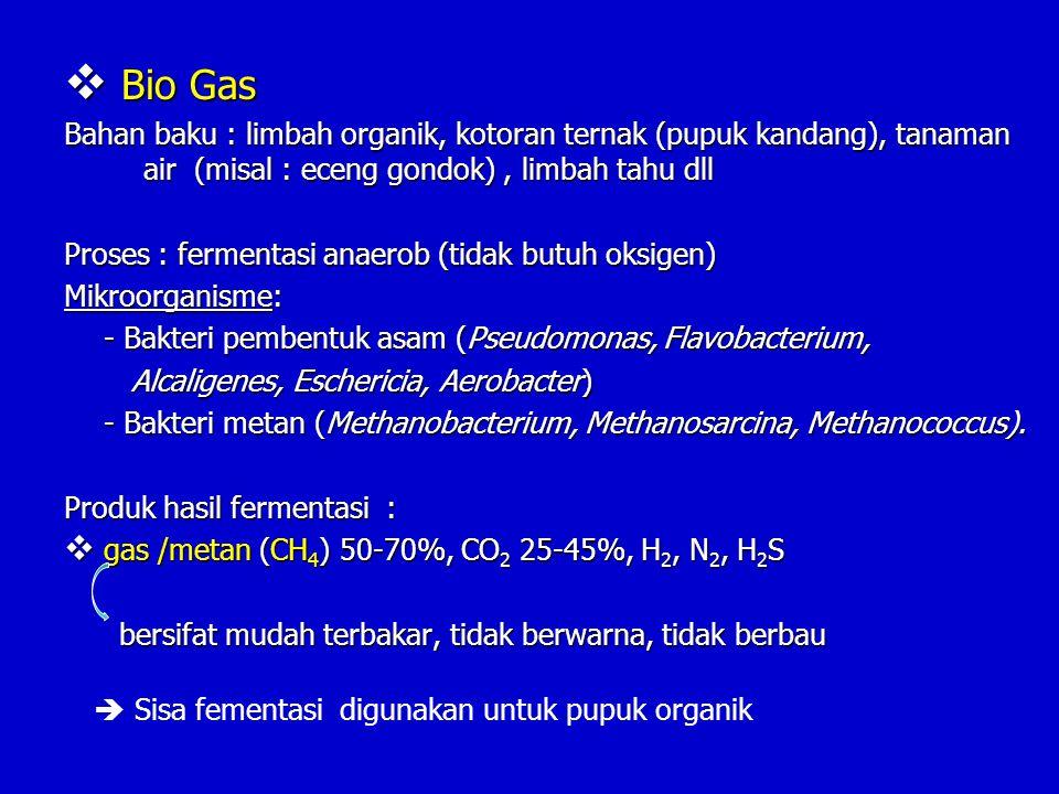 Bio Gas Bahan baku : limbah organik, kotoran ternak (pupuk kandang), tanaman air (misal : eceng gondok) , limbah tahu dll.