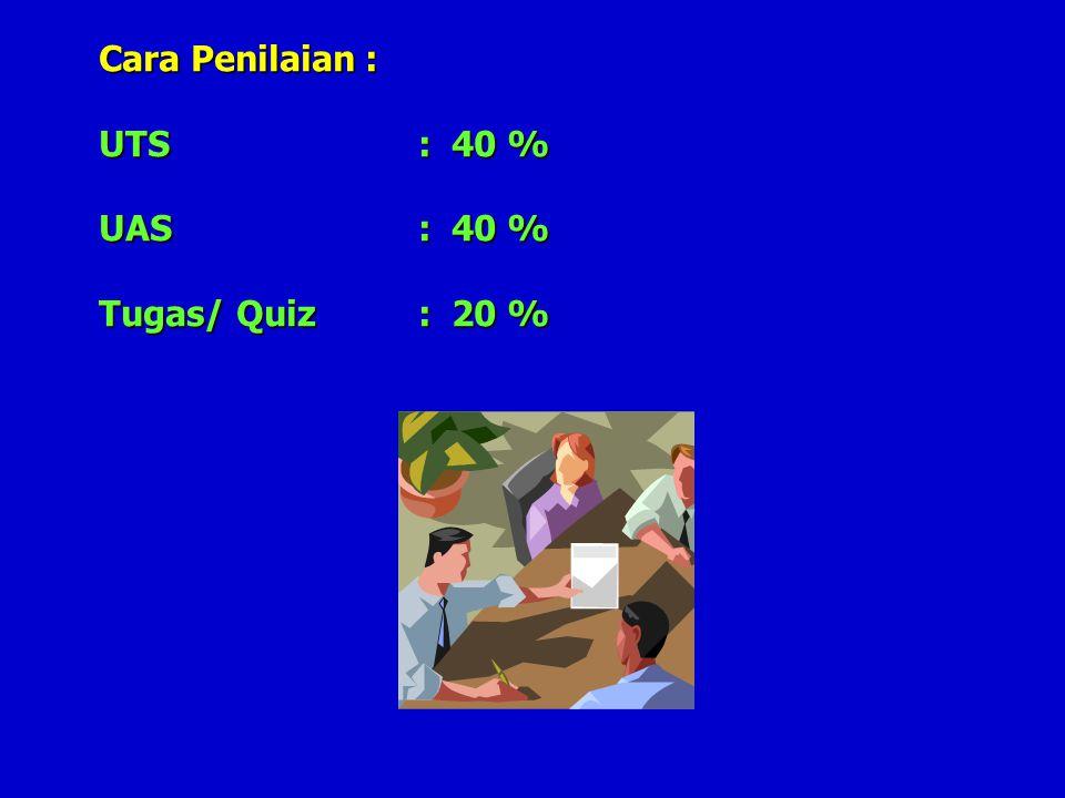 Cara Penilaian : UTS : 40 % UAS : 40 % Tugas/ Quiz : 20 %