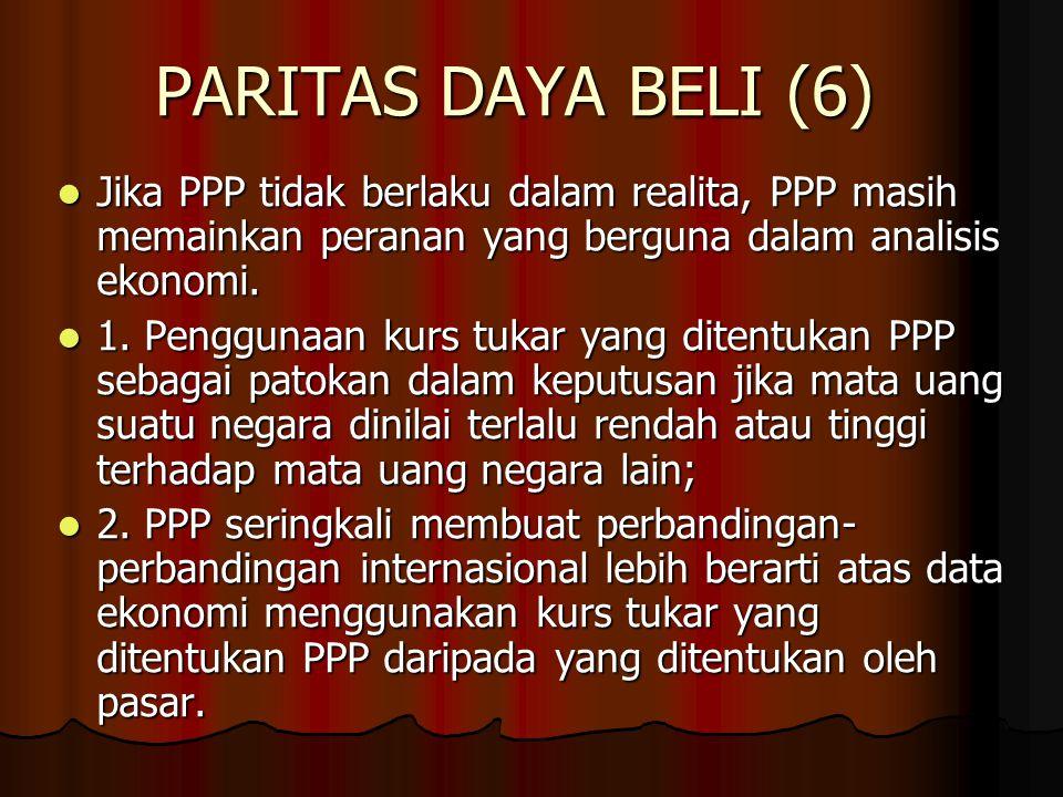 PARITAS DAYA BELI (6) Jika PPP tidak berlaku dalam realita, PPP masih memainkan peranan yang berguna dalam analisis ekonomi.