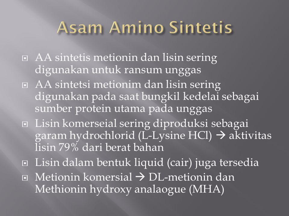 Asam Amino Sintetis AA sintetis metionin dan lisin sering digunakan untuk ransum unggas.
