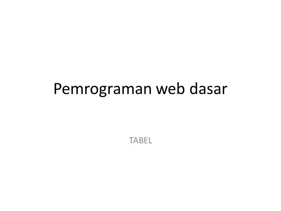 Pemrograman web dasar TABEL