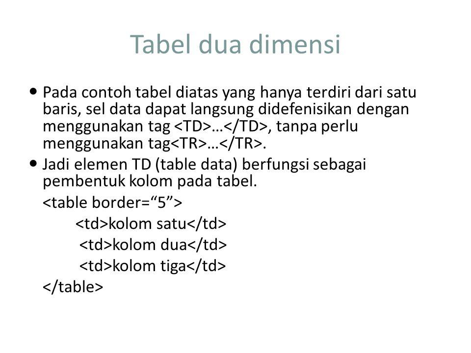 Tabel dua dimensi