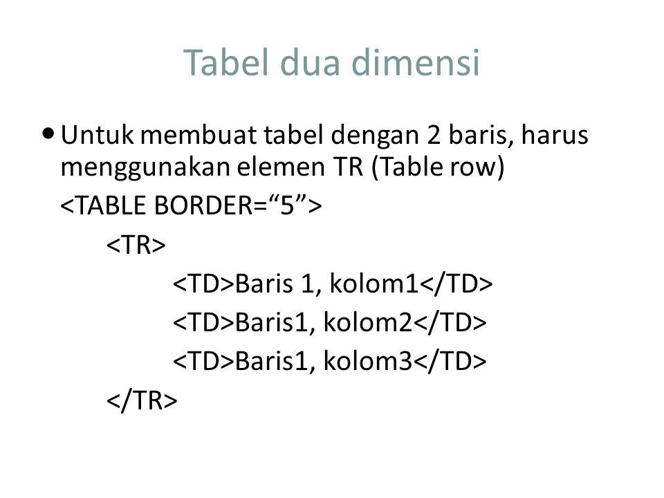Tabel dua dimensi Untuk membuat tabel dengan 2 baris, harus menggunakan elemen TR (Table row) <TABLE BORDER= 5 >