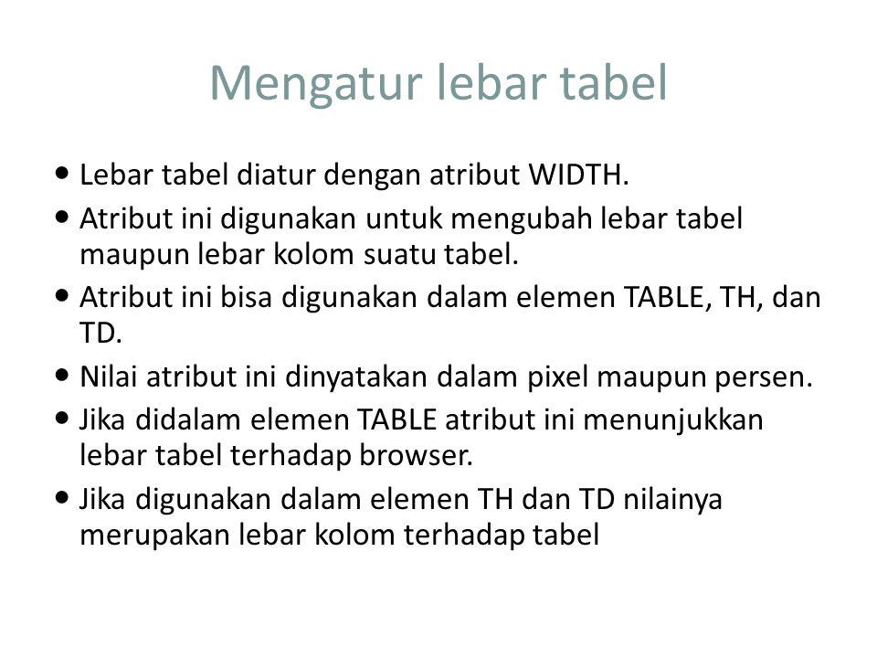 Mengatur lebar tabel Lebar tabel diatur dengan atribut WIDTH.