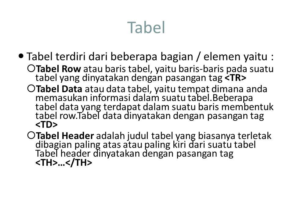 Tabel Tabel terdiri dari beberapa bagian / elemen yaitu :