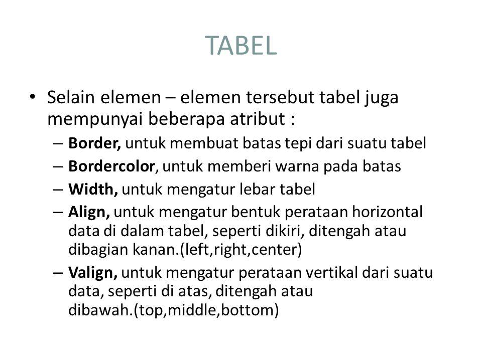 TABEL Selain elemen – elemen tersebut tabel juga mempunyai beberapa atribut : Border, untuk membuat batas tepi dari suatu tabel.