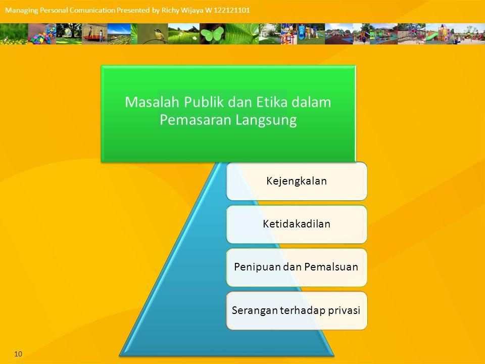 Masalah Publik dan Etika dalam Pemasaran Langsung