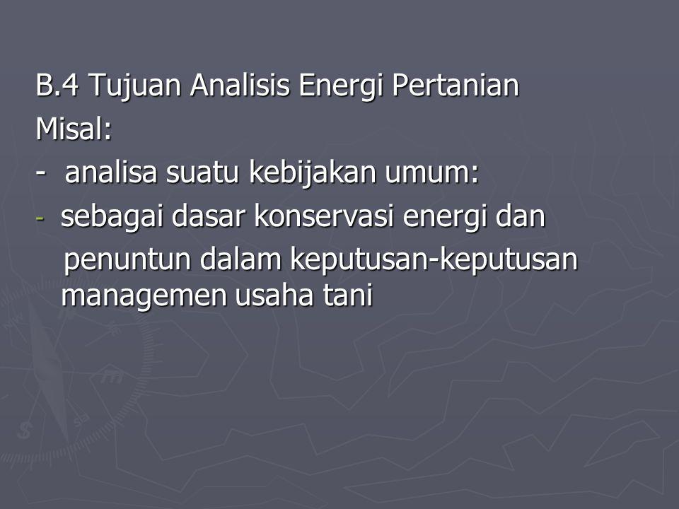 B.4 Tujuan Analisis Energi Pertanian
