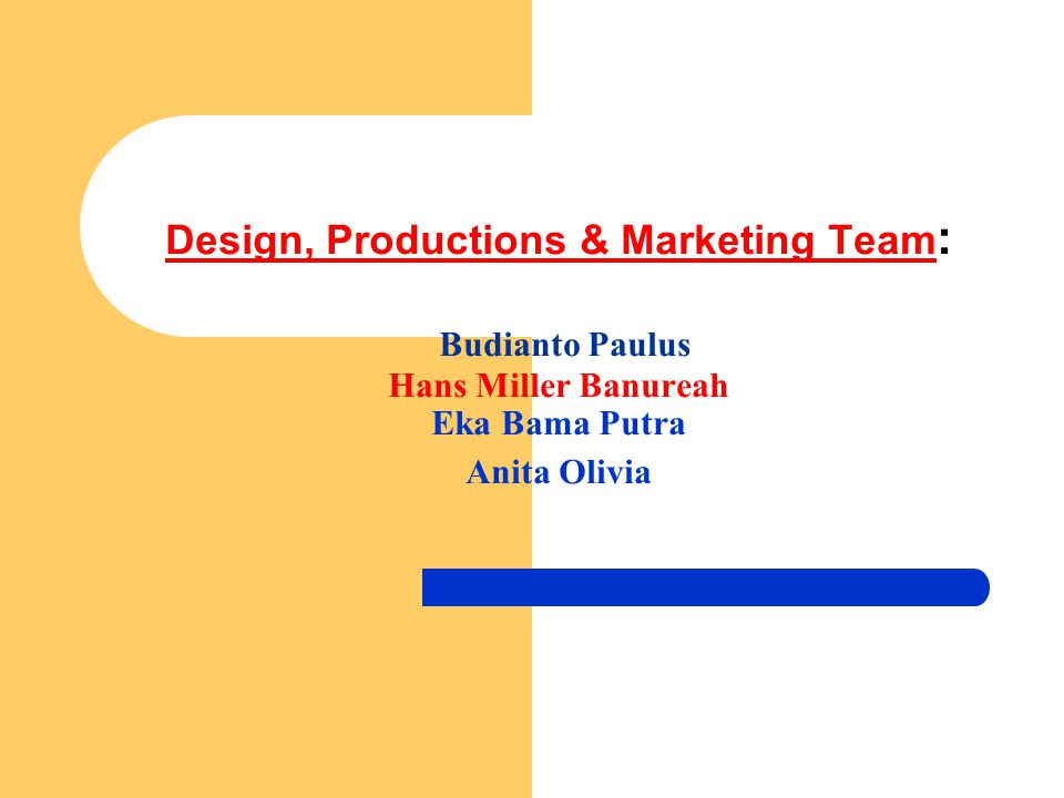 Design, Productions & Marketing Team: Budianto Paulus Hans Miller Banureah Eka Bama Putra Anita Olivia