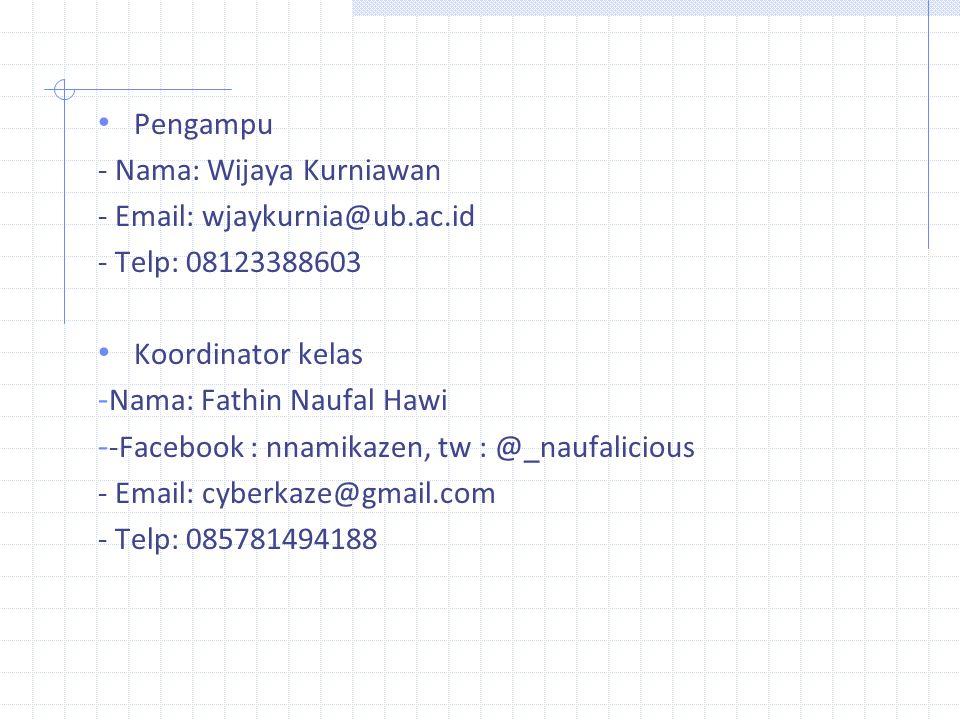 Pengampu - Nama: Wijaya Kurniawan. - Email: wjaykurnia@ub.ac.id. - Telp: 08123388603. Koordinator kelas.