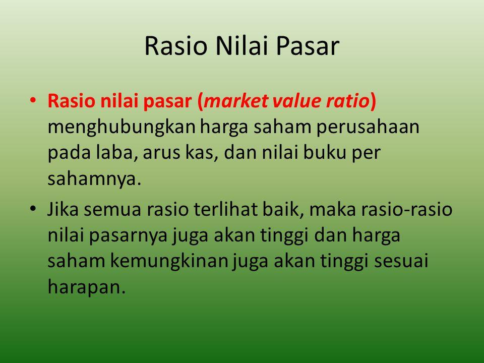 Rasio Nilai Pasar Rasio nilai pasar (market value ratio) menghubungkan harga saham perusahaan pada laba, arus kas, dan nilai buku per sahamnya.