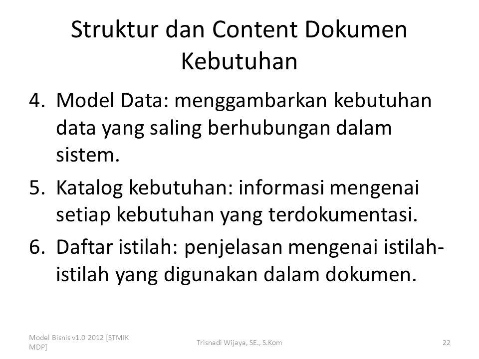 Struktur dan Content Dokumen Kebutuhan