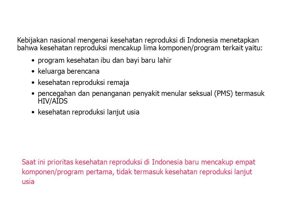 Kebijakan nasional mengenai kesehatan reproduksi di Indonesia menetapkan bahwa kesehatan reproduksi mencakup lima komponen/program terkait yaitu: