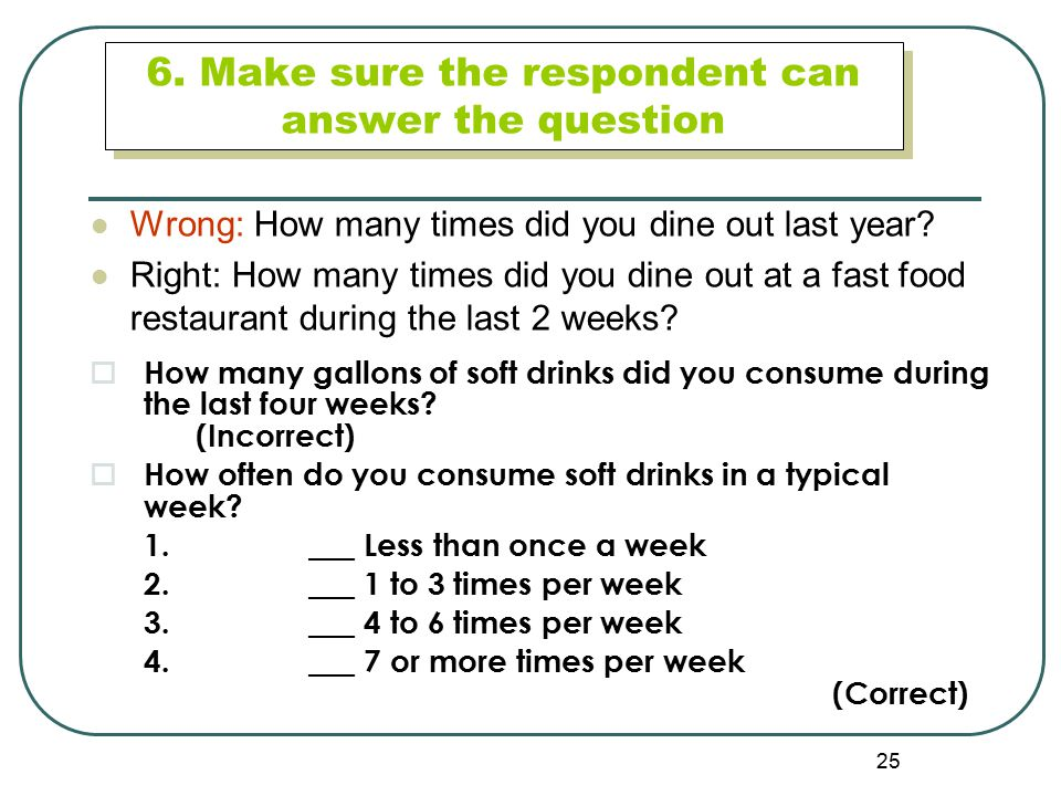 6. Make sure the respondent can answer the question