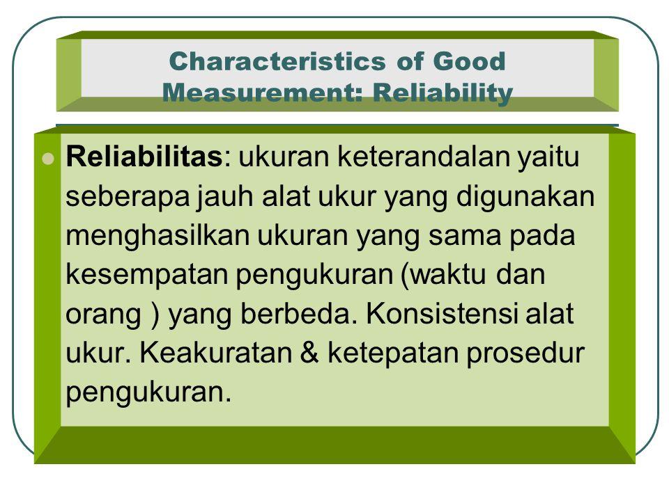 Characteristics of Good Measurement: Reliability